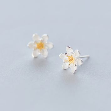 Dainty flower earrings Sterling Silver lotus earrings+ Gift box ALQ1023E