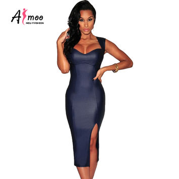 AFMOO Women Sexy Office Dress 2016 New Summer Hollow Out Split Bandage Dresses High Quality Sleeveless Lady Night Club Dress