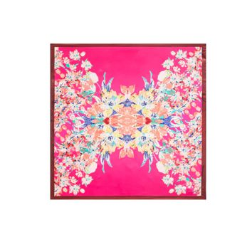 Vivid Summer Floral Faux Silk Scarf (2 Color Options)