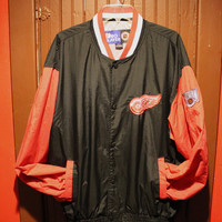 vintage 90s retro pro player official NHL hockey detroit red wings western conference button up lined nylon jacket