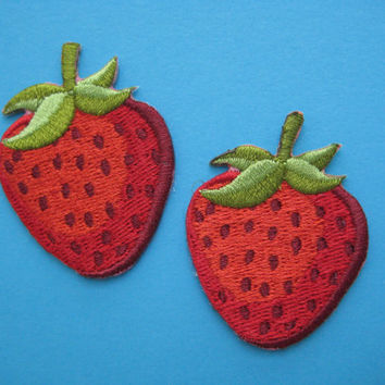 2 pcs Iron-on Embroidered applique strawberry 1.75 inch
