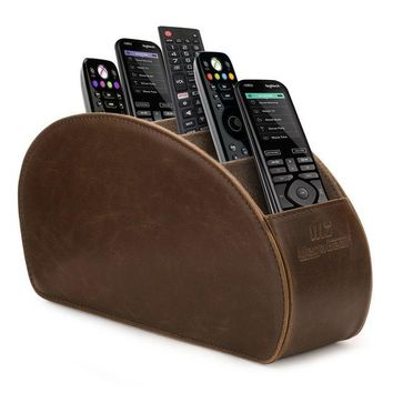 ONETOW MegaGear Remote Control Holder - Store DVD, Blu-Ray, TV, Roku or Apple TV Remotes - 5 Pockets, PU Leather - Slim, Compact Living or Bedroom Storage