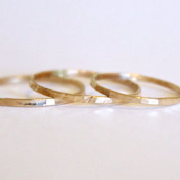 3 Signature Skinny Rings - 14k Gold Fill or Sterling Silver - Stacking Ring - Textured Ring - Hammered Ring - Simple Gold Ring Set -Delicate