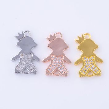 hand made Popular Kawaii Jewelry Brass Metal with Zircon Rhinestone Crown Boy and Girl connectors for jewelry making DIY Finding