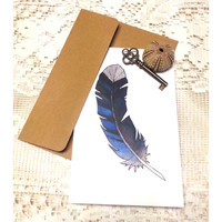 BlueJay Note Card, Blank Greeting Card, Original Watercolor Print, Thank You Card, Rustic Birthday Card, Bohemian, Wanderlust, Blue Feather