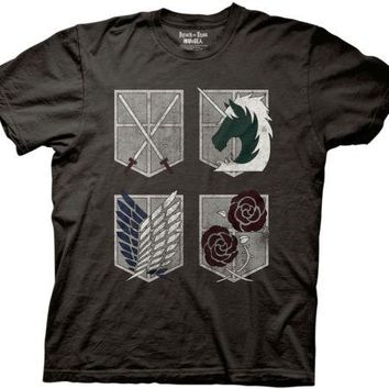 Attack on Titan 4 Shield Logo Anime Licensed Adult T Shirt