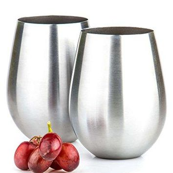 Potree Stainless Steel Insulated Stemless Wine Glass Unbreakable Set of 2 Cups