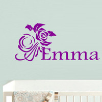 Wall decal decor decals art Emma name inscription word baby girl flower rose nursery decoration gift (m693)