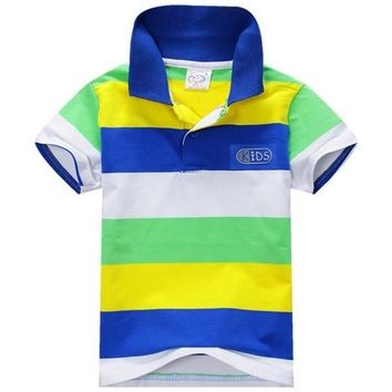 1-7Y Baby Children Boys Striped T-shirts Kids Tops S Tee Polo Shirts Clothing JFY66
