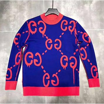 """Gucci"" Women Men Couple Casual Fashion Letter Knit Long Sleeve Sweater I-A-XYCL"
