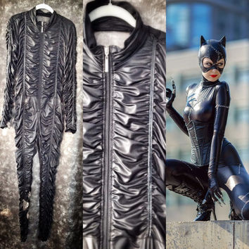 cat woman costume / womens black jumpsuit / spider woman / Halloween costume suit / faux leather