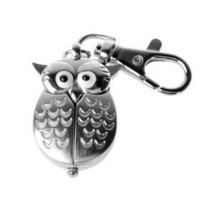 Silver Flip Open Owl Keychain Watch - $3.43