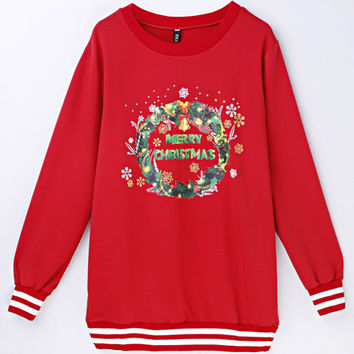Round-neck Long Sleeve Hoodies Hot Sale Ugly Christmas Sweater Alphabet Pattern T-shirts [9440718532]