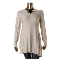 Vertical Design Womens Plus Knit Long Sleeve Pullover Sweater