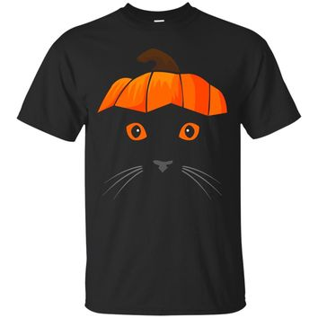 Cat Wearing Pumpkin Hat Shirt- Face Halloween Costume Gift