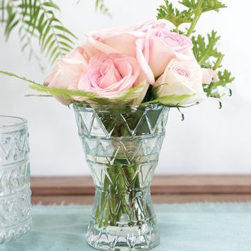 """Decorative Cora Glass Floral Vase in Clear - 7.25"""" Tall x 5"""" Wide"""