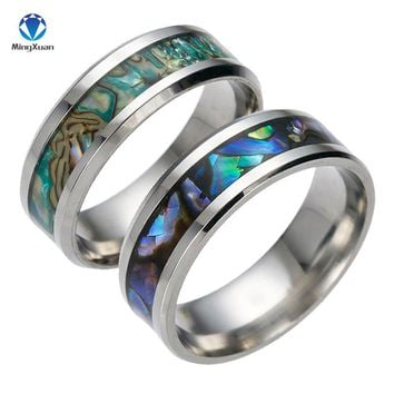2017 New Vintage Colorful shell Free Shipping  stainless steel Ring Mens Jewelry for Men lord Wedding Band male ring for lovers
