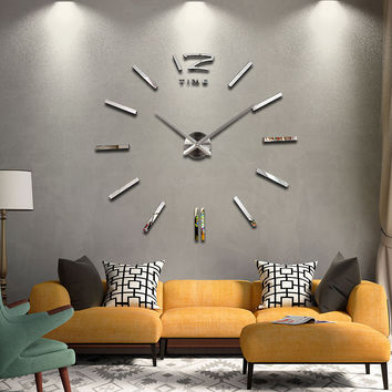 2016 diy living room new acrylic quartz watch wall clock clocks reloj de pared home decoration hot Metal Sticker free shipping