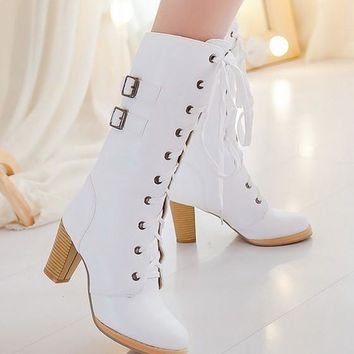 New Women White Round Toe Chunky Add Feathers Lace-up Fashion Mid-Calf Boots