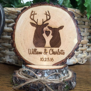 Rustic Wedding Cake Topper, Engraved Wedding Topper, Deer Couple Topper, Personalized Topper, Custom Topper, Barn Wedding, Country Wedding