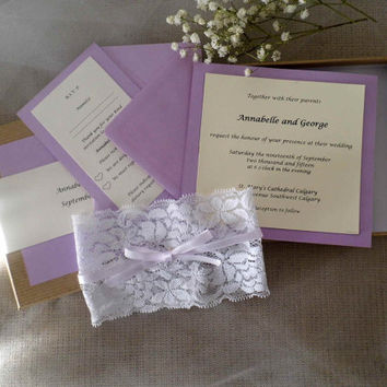 Elegant lace and ribbon boxed wedding invitation, rustic invitations, wedding invitations, natural invitations set of a hundred