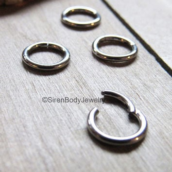 "Tiny septum piercing hinged segment ring daith earring small diameter 1/4"" 6mm titanium easy insert click hinge helix piercing hoop silver 1"