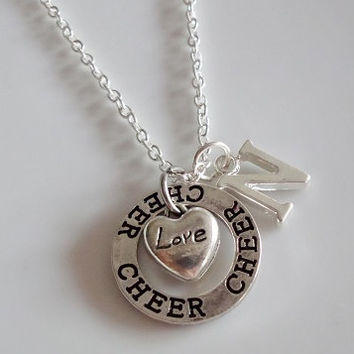 Love Cheer Necklace, cheerleader Cheerleading Necklace Best Friend, Sister necklace, Monogram Initial Name necklaces Gift