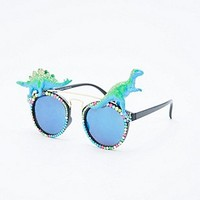 Spangled Dinosaur Mirror Glasses in Green - Urban Outfitters