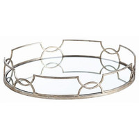 Arteriors Home Cinchwaist Oval Silver Leaf Mirror Tray - Arteriors Home 3137