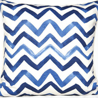 Blue Chevron Pillow Cover Navy Periwinkle Blue White Decorative Repurposed 18x18