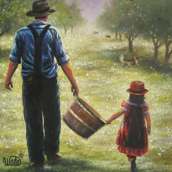 Farmer Dad Daughter Art Print apple orchard, grandpa granddaughter girl paintings prints, Vickie Wade