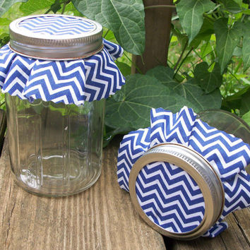 12 Blue Chevron Jam Covers, Cloth Toppers, fabric for mason jars, food preservation, wedding favors