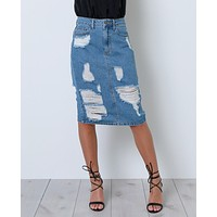 Blue Break Denim Skirt
