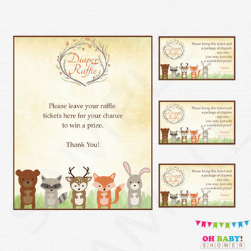 Woodland Baby Shower, Diaper Raffle Ticket, Diaper Raffle Sign and Raffle Cards, Woodland Animals Baby Shower, Printable Download WD01