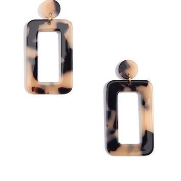 Zenzii Tortoise Rectangular Drop Earrings