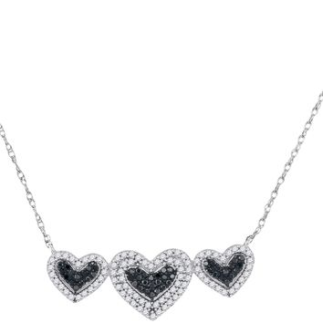 10kt White Gold Womens Round Black Color Enhanced Diamond Triple Framed Heart Pendant Necklace 3/8 Cttw