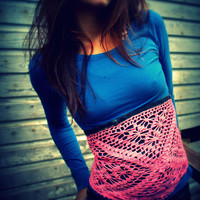 Lace Up Corset - Upcycled Denim and Crochet