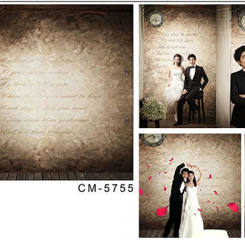 200cmX150cm backgrounds wedding Ancient wall clock poems wedding background photography CM CM-5755
