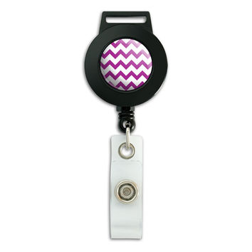 Chevrons Purple Retractable Badge Card ID Holder