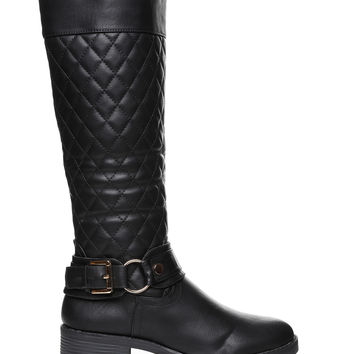 Quilted Faux Leather Knee Boots