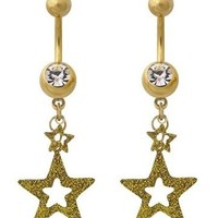 Set 2 STAR Belly Button Navel Rings With SWAROVSKI CRYSTALS NEW Ladies Jewelry