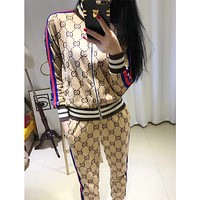 GUCCI new casual contrast color striped letter zipper jacket + small feet nine pants two sets F0768-1 khaki