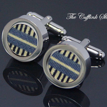COTTON (2nd) SECOND ANNIVERSARY Gift -100% Cotton, Blue Yellow Black Pattern Perfect 2nd Anniversary Gift Silver Cufflink Box Included (5a2)