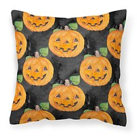 Watecolor Halloween Jack-O-Lantern Fabric Decorative Pillow BB7524PW1818