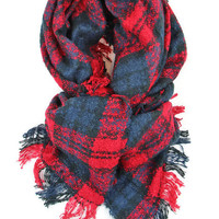 Pleasantly Plaid Blanket Scarf in Red