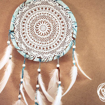 Dream Catcher - White Flower Mandala - With White Handmade Crochet Web and White Feathers - Mobile, Home Decor, Decoration