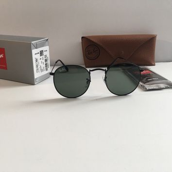 New Ray-Ban RB3447 Round Metal 002 50-21-145 Black/Green Lens 50MM Sunglasses.