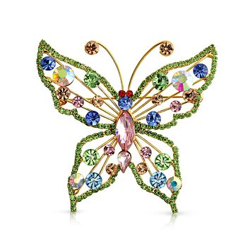 Large Multi Color Rainbow Crystal Butterfly Brooch Pin Gold Plated