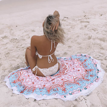 Multi Pattern Round Terry Cloth Beach Blanket