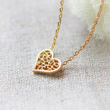 Lace Heart Necklace / choose your color / gold and silver